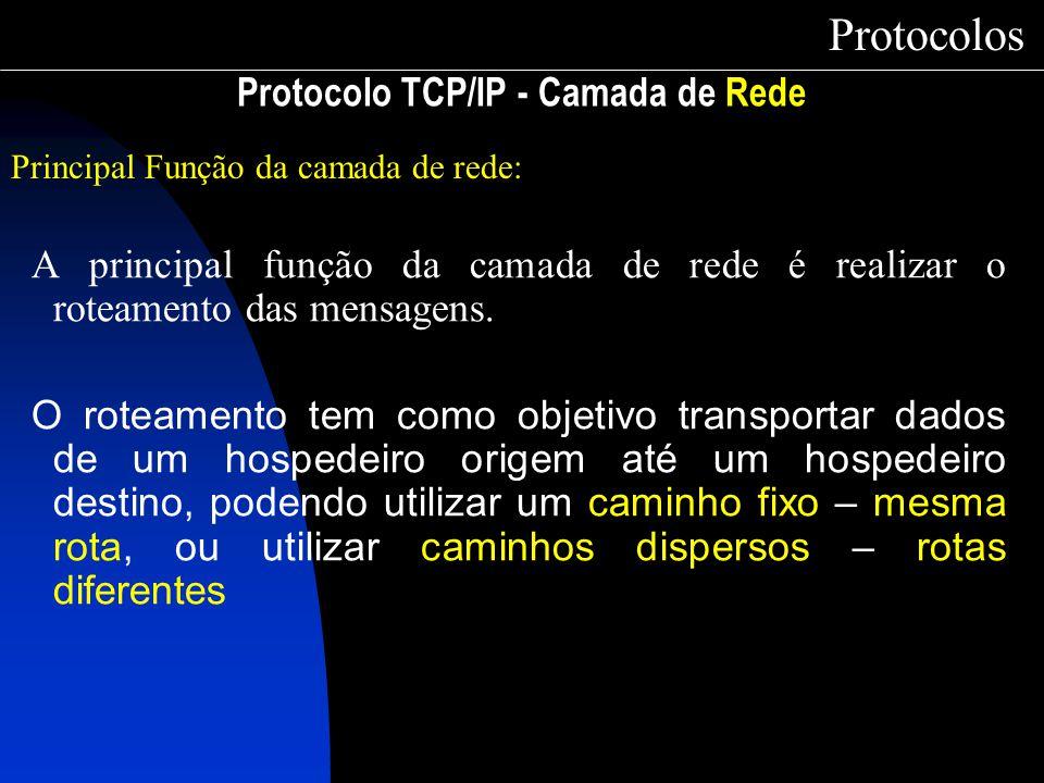 Protocolo TCP/IP - Camada de Rede Protocolos Principal Função da camada de rede: A principal função da camada de rede é realizar o roteamento das mens