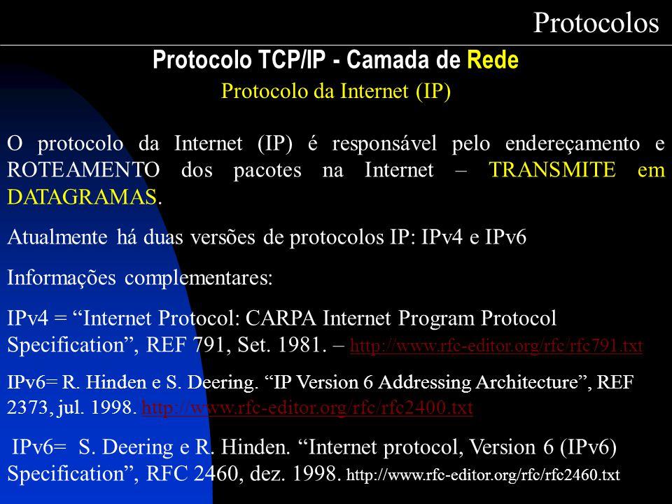 Protocolo TCP/IP - Camada de Rede Protocolos Protocolo da Internet (IP) O protocolo da Internet (IP) é responsável pelo endereçamento e ROTEAMENTO dos