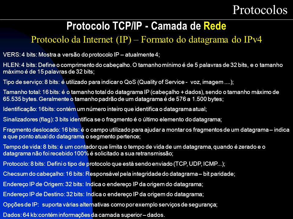 Protocolo TCP/IP - Camada de Rede Protocolos Protocolo da Internet (IP) – Formato do datagrama do IPv4 VERS: 4 bits: Mostra a versão do protocolo IP –