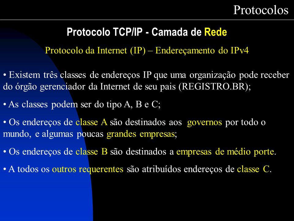 Protocolo TCP/IP - Camada de Rede Protocolos Protocolo da Internet (IP) – Endereçamento do IPv4 Existem três classes de endereços IP que uma organizaç