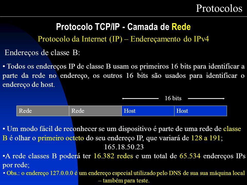 Protocolo TCP/IP - Camada de Rede Protocolos Protocolo da Internet (IP) – Endereçamento do IPv4 Endereços de classe B: Todos os endereços IP de classe