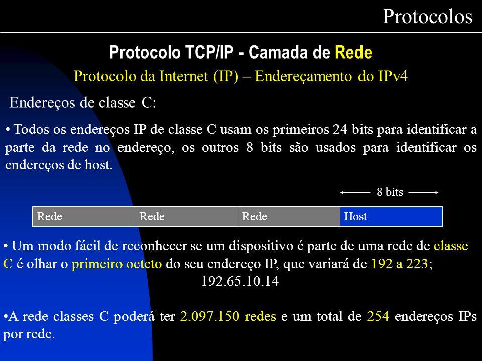 Protocolo TCP/IP - Camada de Rede Protocolos Protocolo da Internet (IP) – Endereçamento do IPv4 Endereços de classe C: Todos os endereços IP de classe