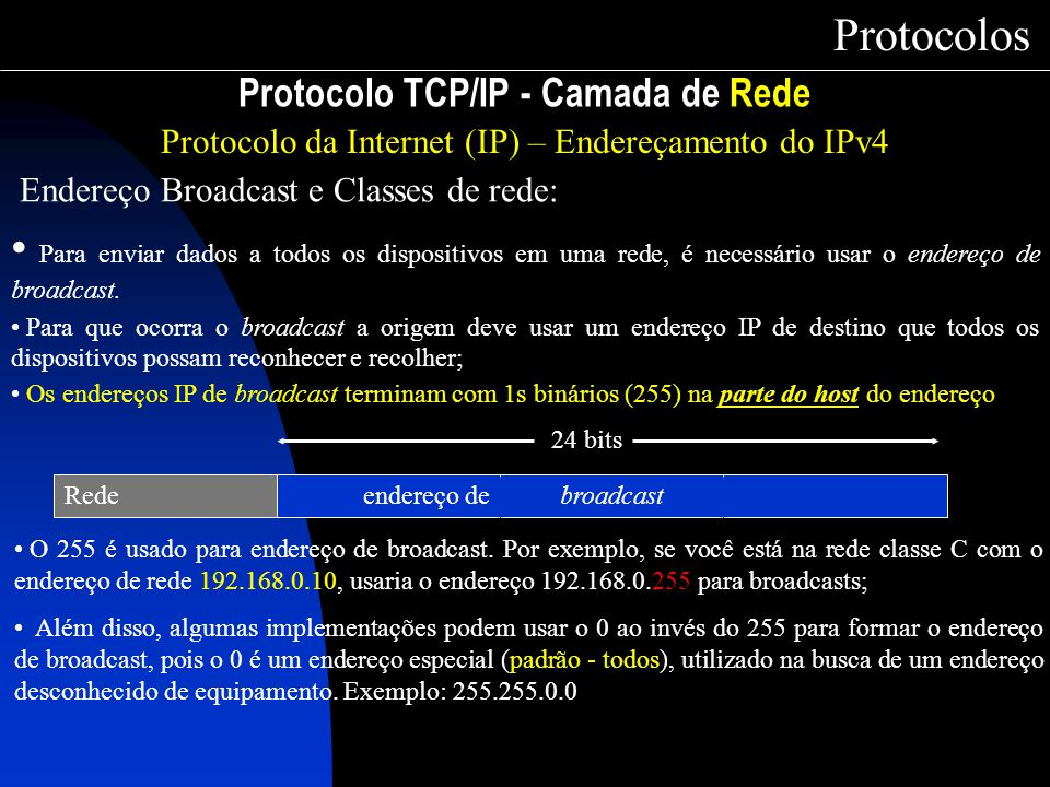 Protocolo TCP/IP - Camada de Rede Protocolos Protocolo da Internet (IP) – Endereçamento do IPv4 Endereço Broadcast e Classes de rede: Para enviar dado