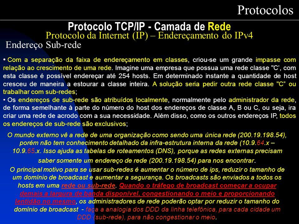 Protocolo TCP/IP - Camada de Rede Protocolos Protocolo da Internet (IP) – Endereçamento do IPv4 Endereço Sub-rede Com a separação da faixa de endereça