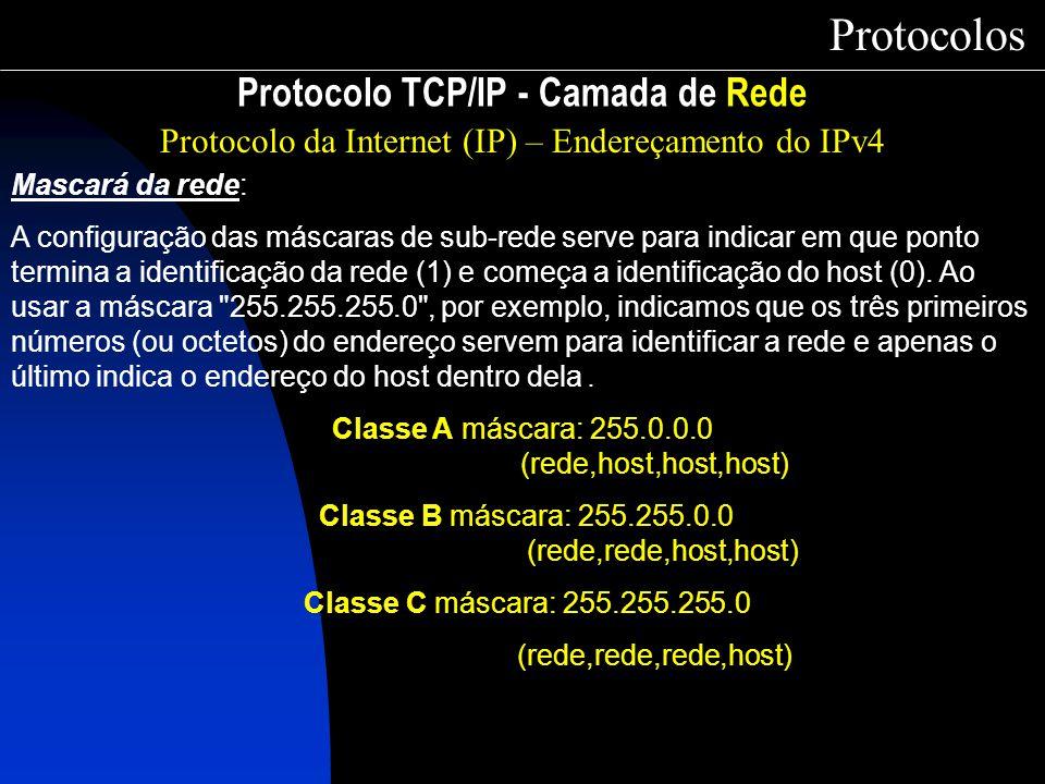 Protocolo TCP/IP - Camada de Rede Protocolos Protocolo da Internet (IP) – Endereçamento do IPv4 Mascará da rede: A configuração das máscaras de sub-re
