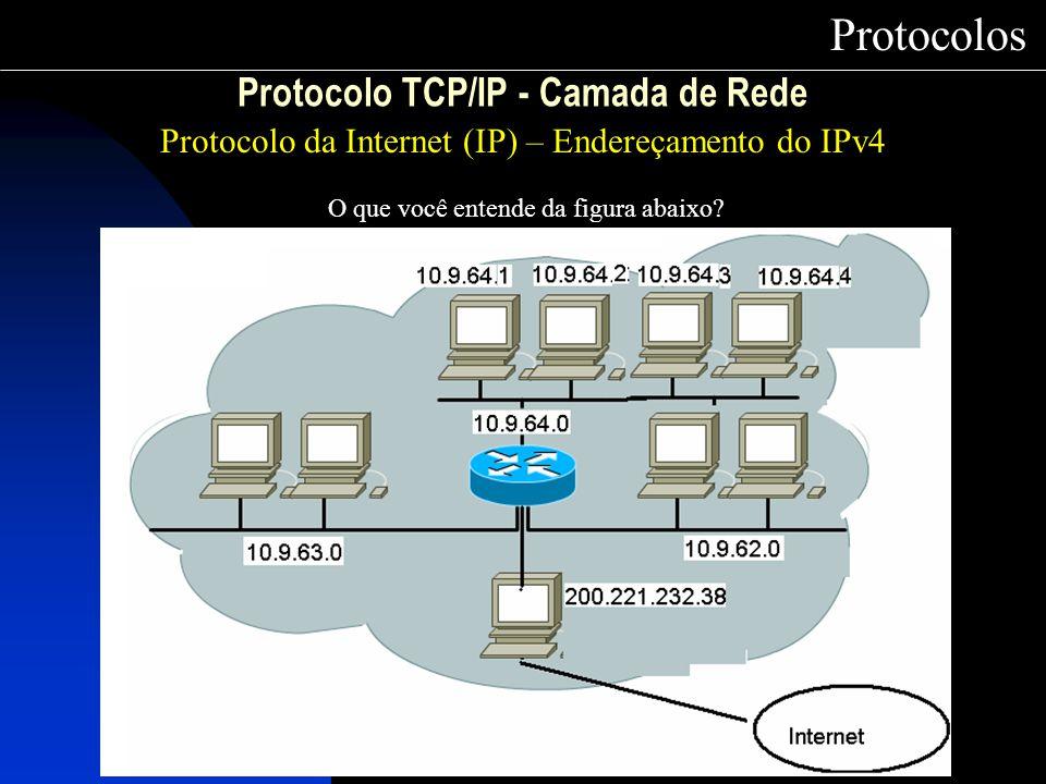 Protocolo TCP/IP - Camada de Rede Protocolo da Internet (IP) – Endereçamento do IPv4 Protocolos O que você entende da figura abaixo?