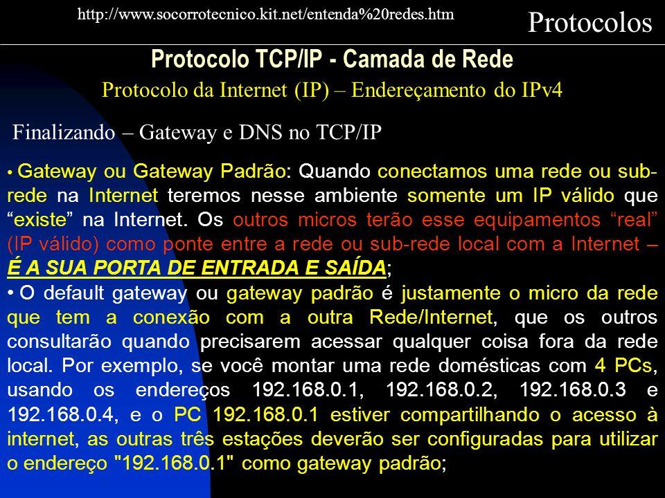 Protocolo TCP/IP - Camada de Rede Protocolo da Internet (IP) – Endereçamento do IPv4 Protocolos http://www.socorrotecnico.kit.net/entenda%20redes.htm