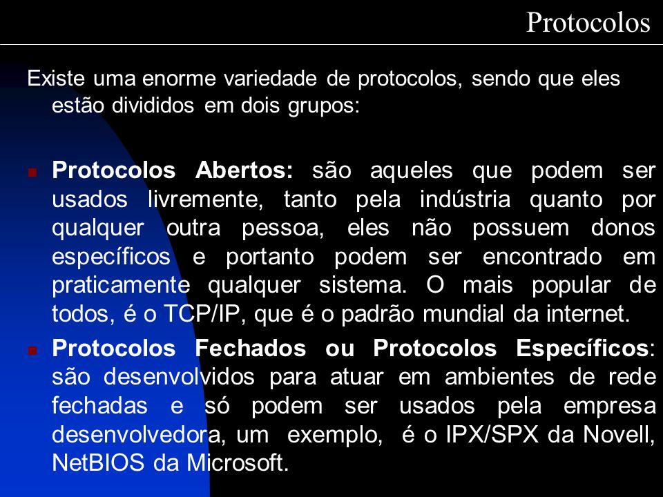 Protocolos Existe uma enorme variedade de protocolos, sendo que eles estão divididos em dois grupos: Protocolos Abertos: são aqueles que podem ser usa