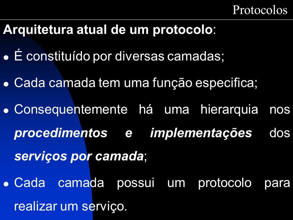 Arquitetura atual de um protocolo: É constituído por diversas camadas; Cada camada tem uma função especifica; Consequentemente há uma hierarquia nos p