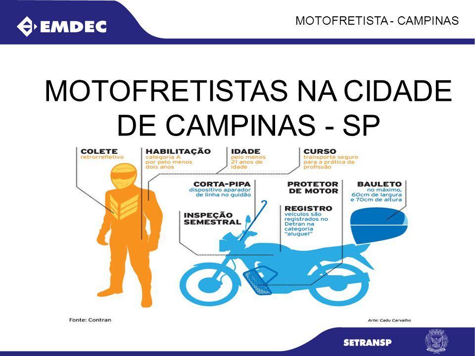 MOTOFRETISTA - CAMPINAS CAMPINAS NO CENARIO NACIONAL: CIDADE POLO DA REGIÃO METROPOLITANA COM 19 CIDADES (2,5 MILHÕES DE HABITANTES); POPULAÇÃO: 1.080.113 HABITANTES (2010); FROTA VEICULAR : 782.000 VEÍCULOS REGISTRADOS NA CIDADE: - MOTOCICLETAS: 114.943; - FROTA DO TRANSPORTE COLETIVO: 1382 VEICULOS EMPRESAS: MAIS DE 50 MIL: - LOJAS 13.400 - SERVIÇOS 14.500 - FILIAIS: MAIS DE 50 FILIAIS DAS 500 MAIORES DO PAIS; POSSUI O AEROPORTO INTERNACIONAL DE VIRACOPOS, SERVIDA POR 8 RODOVIAS E POSSUI O MAIOR TERMINAL DE CARGAS DA AMERICA DO SUL, IBGE – CENSO 2010