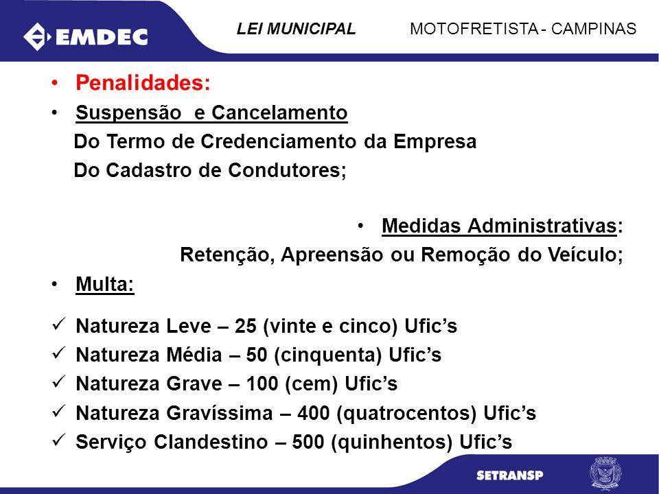 MOTOFRETISTA - CAMPINASLEI MUNICIPAL Penalidades: Suspensão e Cancelamento Do Termo de Credenciamento da Empresa Do Cadastro de Condutores; Medidas Ad