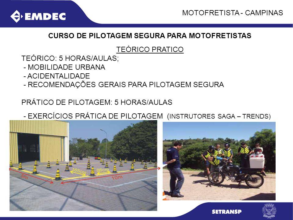 MOTOFRETISTA - CAMPINAS CURSO DE PILOTAGEM SEGURA PARA MOTOFRETISTAS TEÓRICO PRATICO TEÓRICO: 5 HORAS/AULAS; - MOBILIDADE URBANA - ACIDENTALIDADE - RE