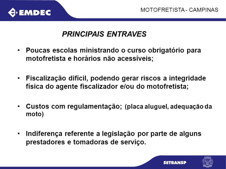 MOTOFRETISTA - CAMPINAS Poucas escolas ministrando o curso obrigatório para motofretista e horários não acessíveis; Fiscalização difícil, podendo gera