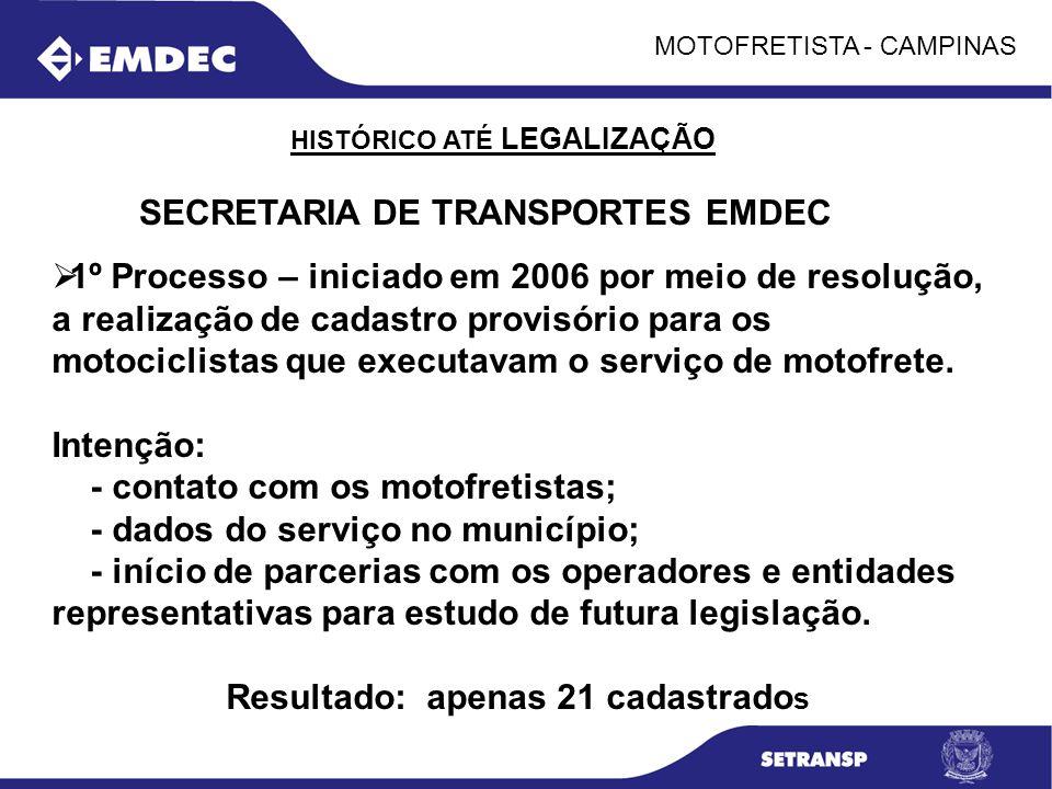 MOTOFRETISTA - CAMPINAS 1º Processo – iniciado em 2006 por meio de resolução, a realização de cadastro provisório para os motociclistas que executavam
