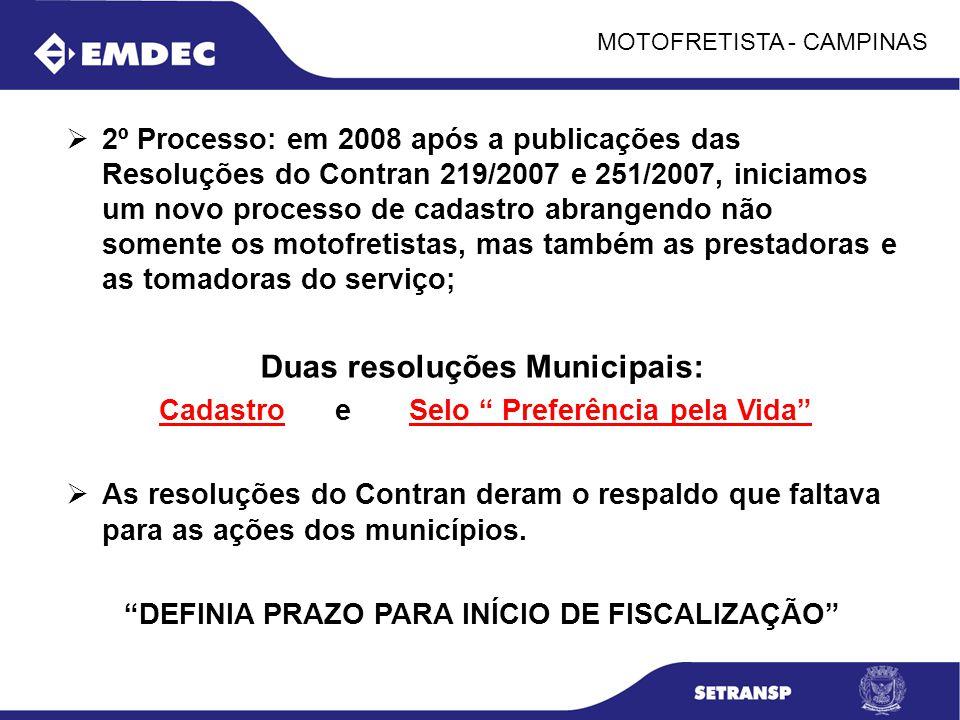 MOTOFRETISTA - CAMPINAS 2º Processo: em 2008 após a publicações das Resoluções do Contran 219/2007 e 251/2007, iniciamos um novo processo de cadastro
