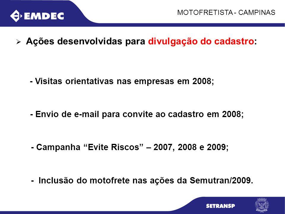 MOTOFRETISTA - CAMPINAS Ações desenvolvidas para divulgação do cadastro: - Visitas orientativas nas empresas em 2008; - Envio de e-mail para convite a