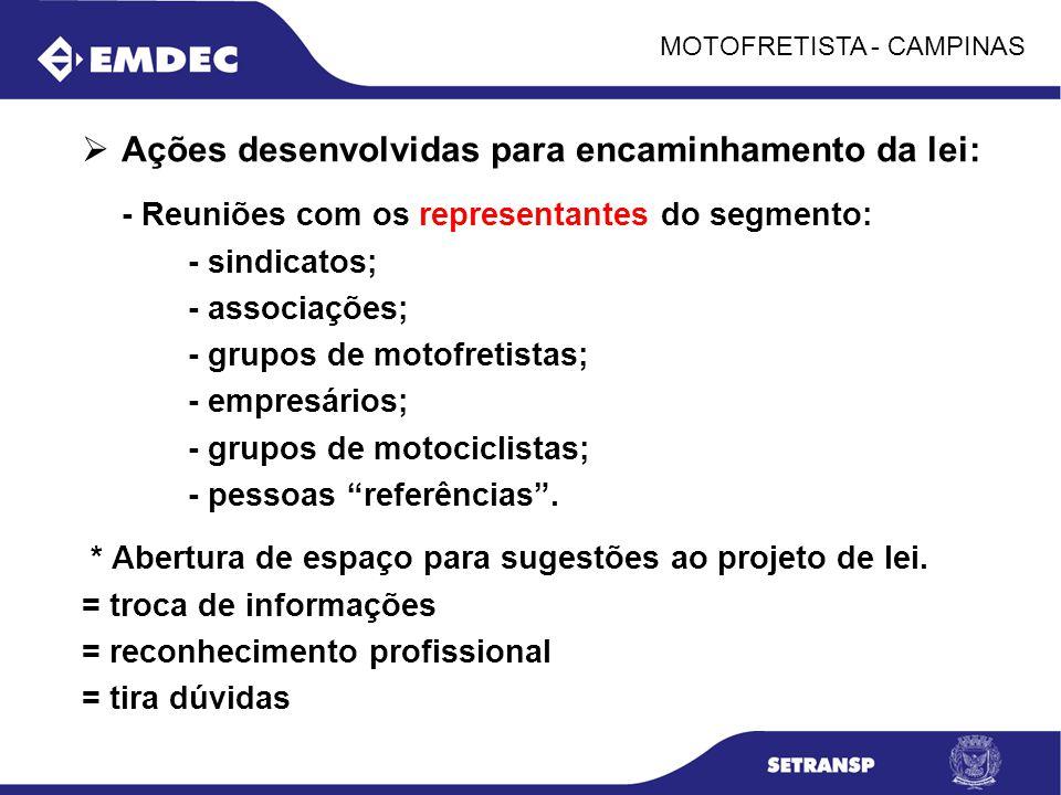 MOTOFRETISTA - CAMPINAS Ações desenvolvidas para encaminhamento da lei: - Reuniões com os representantes do segmento: - sindicatos; - associações; - g