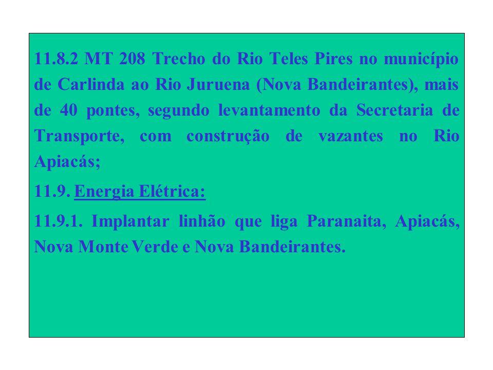 11.8.2 MT 208 Trecho do Rio Teles Pires no município de Carlinda ao Rio Juruena (Nova Bandeirantes), mais de 40 pontes, segundo levantamento da Secretaria de Transporte, com construção de vazantes no Rio Apiacás; 11.9.