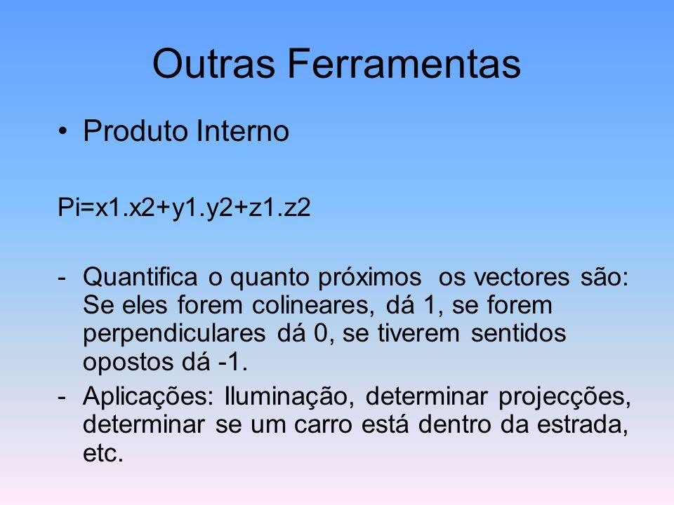 Outras Ferramentas Produto Interno Pi=x1.x2+y1.y2+z1.z2 -Quantifica o quanto próximos os vectores são: Se eles forem colineares, dá 1, se forem perpen