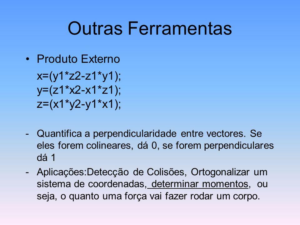 Outras Ferramentas Produto Externo x=(y1*z2-z1*y1); y=(z1*x2-x1*z1); z=(x1*y2-y1*x1); -Quantifica a perpendicularidade entre vectores. Se eles forem c