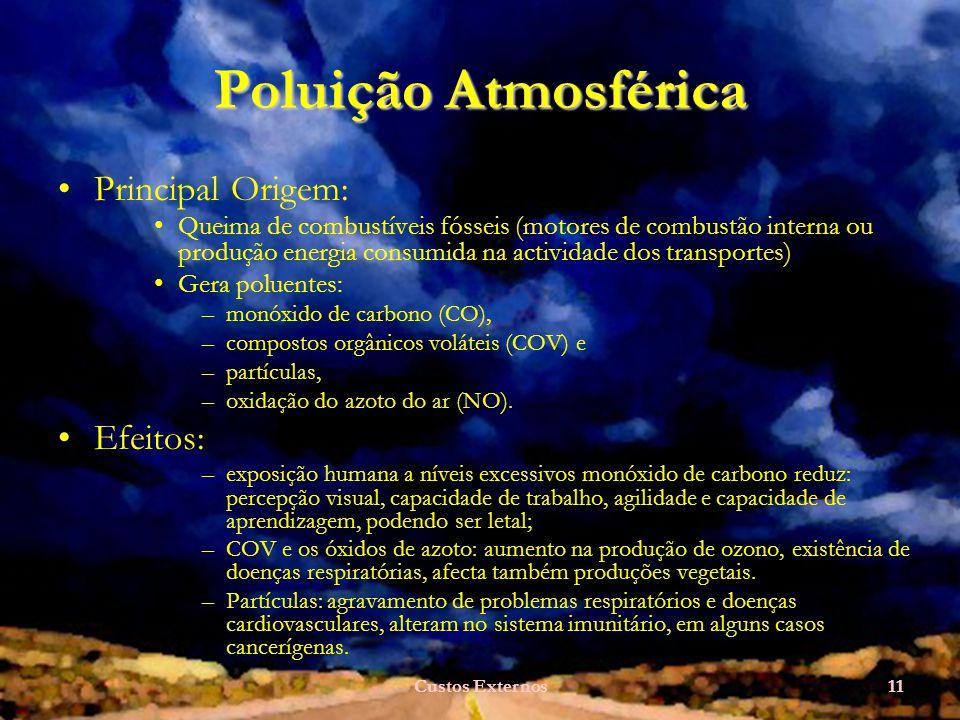 Custos Externos11 Poluição Atmosférica Principal Origem: Queima de combustíveis fósseis (motores de combustão interna ou produção energia consumida na actividade dos transportes) Gera poluentes: –monóxido de carbono (CO), –compostos orgânicos voláteis (COV) e –partículas, –oxidação do azoto do ar (NO).