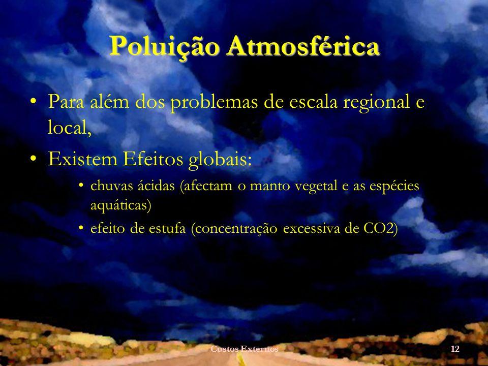 Custos Externos12 Poluição Atmosférica Para além dos problemas de escala regional e local, Existem Efeitos globais: chuvas ácidas (afectam o manto vegetal e as espécies aquáticas) efeito de estufa (concentração excessiva de CO2)