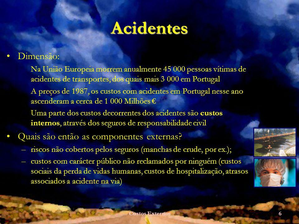 Custos Externos6 Acidentes Dimensão: Na União Europeia morrem anualmente 45 000 pessoas vítimas de acidentes de transportes, dos quais mais 3 000 em Portugal A preços de 1987, os custos com acidentes em Portugal nesse ano ascenderam a cerca de 1 000 Milhões Uma parte dos custos decorrentes dos acidentes são custos internos, através dos seguros de responsabilidade civil Quais são então as componentes externas.