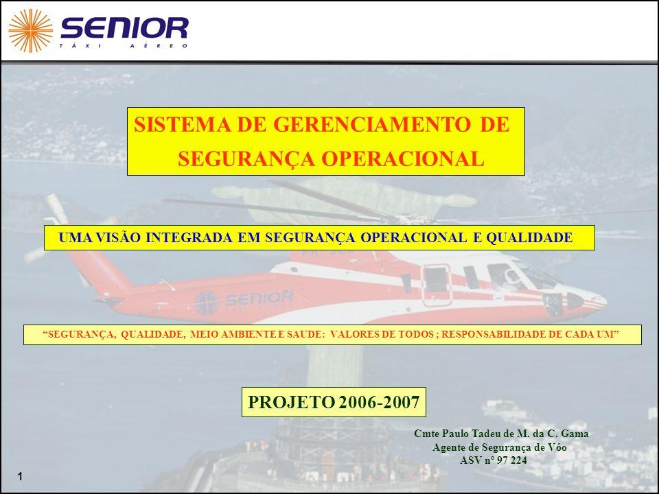 1 PROJETO 2006-2007 SEGURANÇA, QUALIDADE, MEIO AMBIENTE E SAUDE: VALORES DE TODOS ; RESPONSABILIDADE DE CADA UM Cmte Paulo Tadeu de M. da C. Gama Agen
