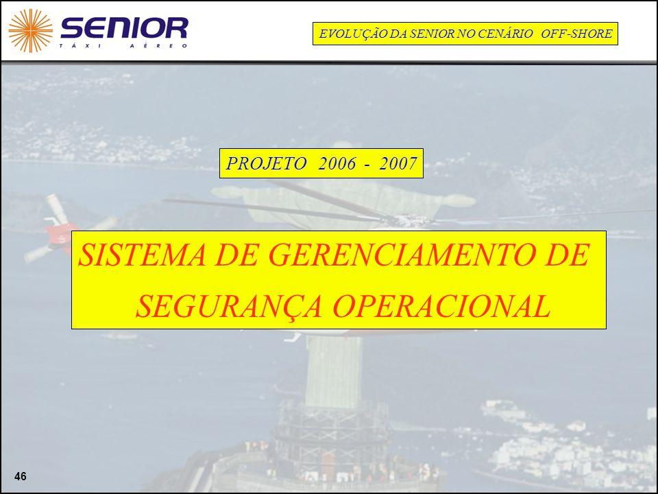 46 SISTEMA DE GERENCIAMENTO DE SEGURANÇA OPERACIONAL PROJETO 2006 - 2007 EVOLUÇÃO DA SENIOR NO CENÁRIO OFF-SHORE