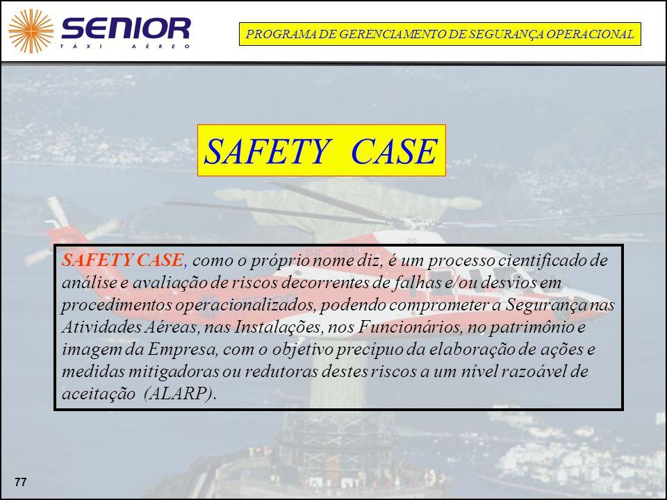 77 PROGRAMA DE GERENCIAMENTO DE SEGURANÇA OPERACIONAL SAFETY CASE, como o próprio nome diz, é um processo cientificado de análise e avaliação de risco