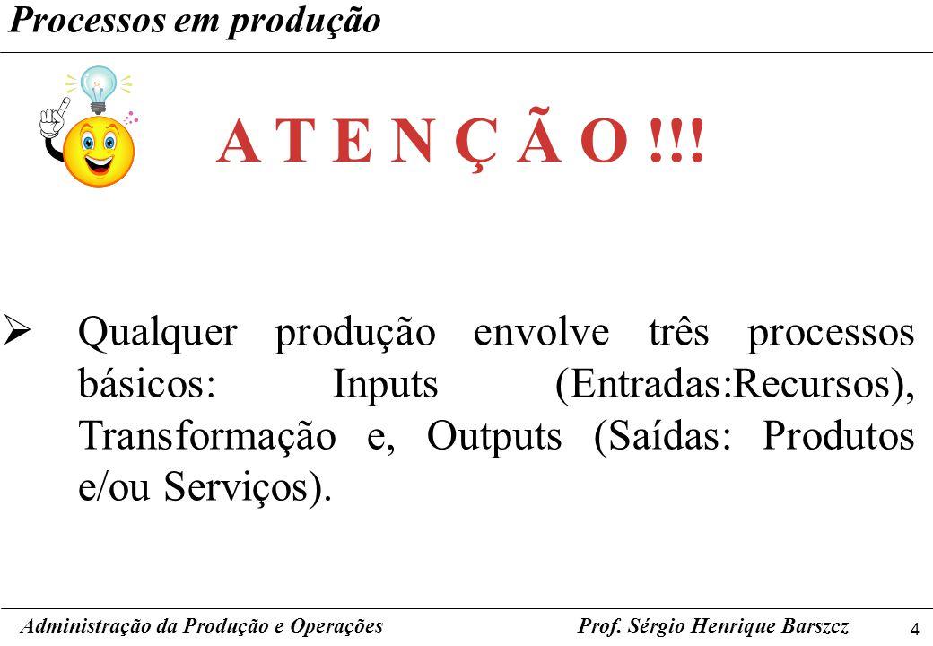 4 Prof. Sérgio Henrique Barszcz Processos em produção Qualquer produção envolve três processos básicos: Inputs (Entradas:Recursos), Transformação e, O