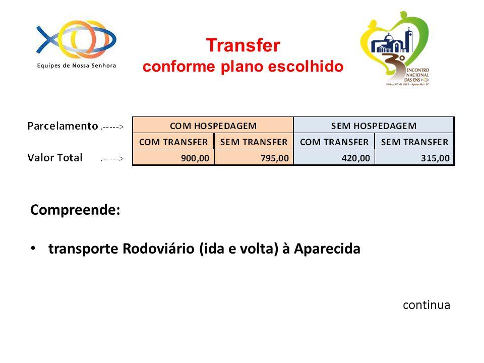 Transfer conforme plano escolhido Compreende: transporte Rodoviário (ida e volta) à Aparecida continua
