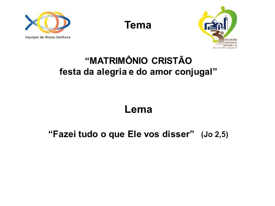 MATRIMÔNIO CRISTÃO festa da alegria e do amor conjugal Lema Fazei tudo o que Ele vos disser (Jo 2,5) Tema