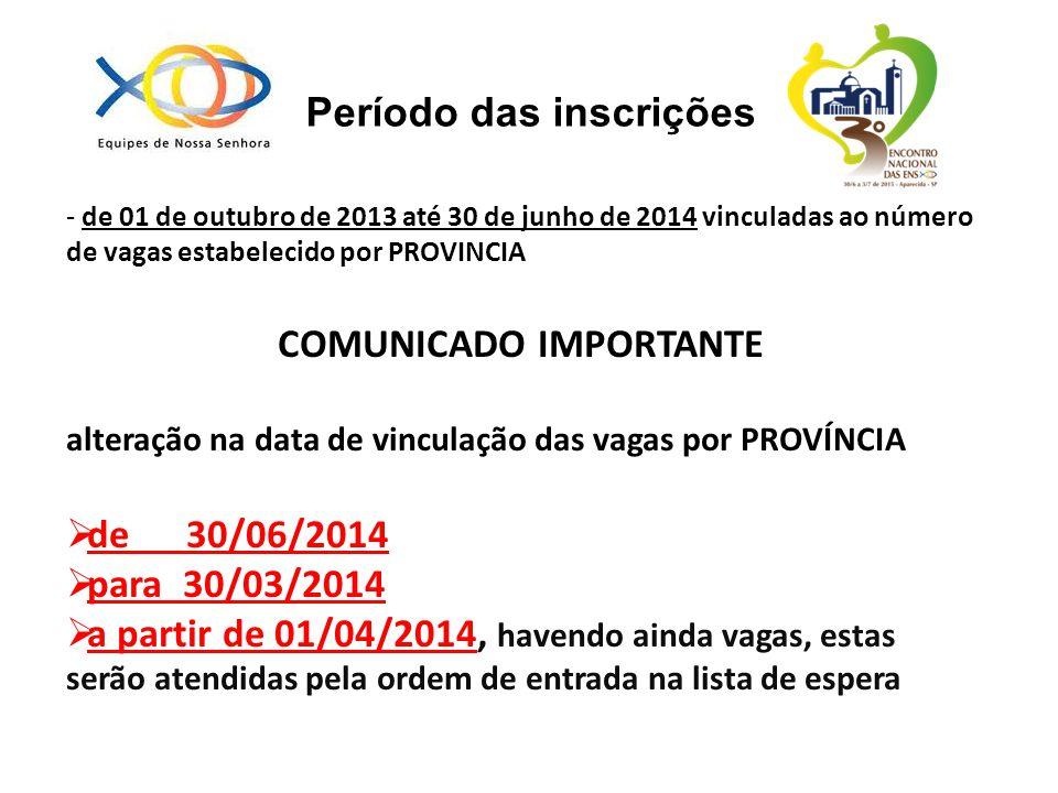 - de 01 de outubro de 2013 até 30 de junho de 2014 vinculadas ao número de vagas estabelecido por PROVINCIA COMUNICADO IMPORTANTE alteração na data de