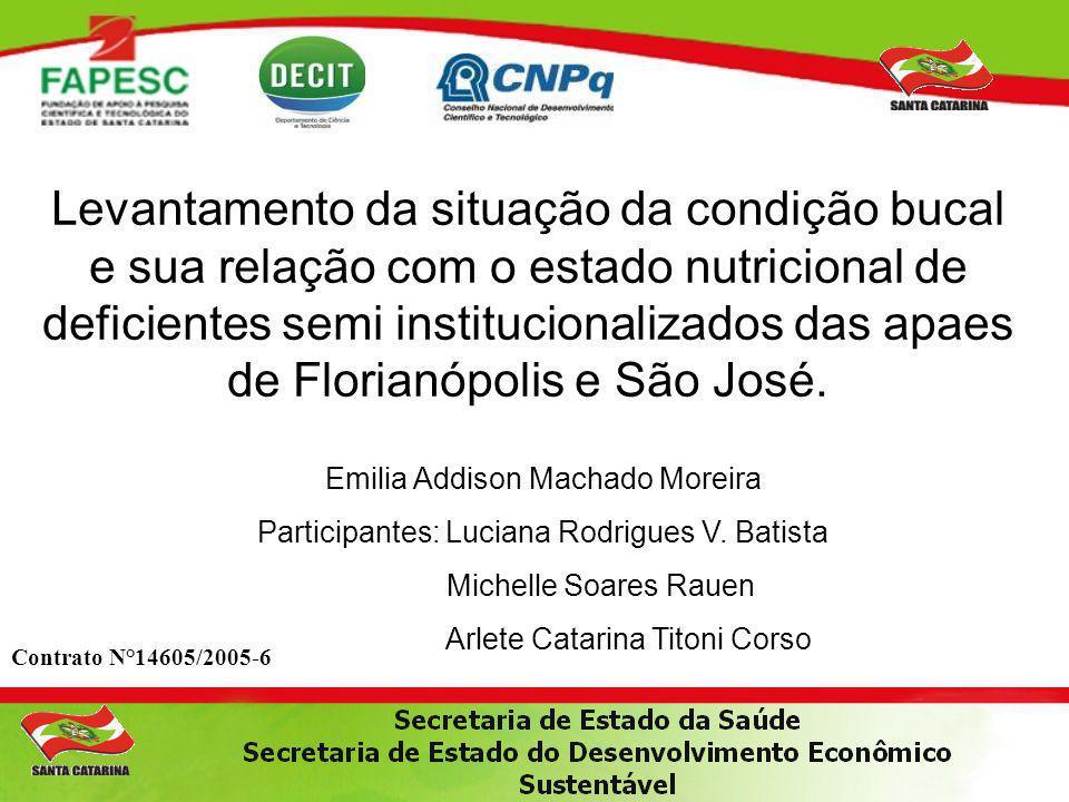 Levantamento da situação da condição bucal e sua relação com o estado nutricional de deficientes semi institucionalizados das apaes de Florianópolis e