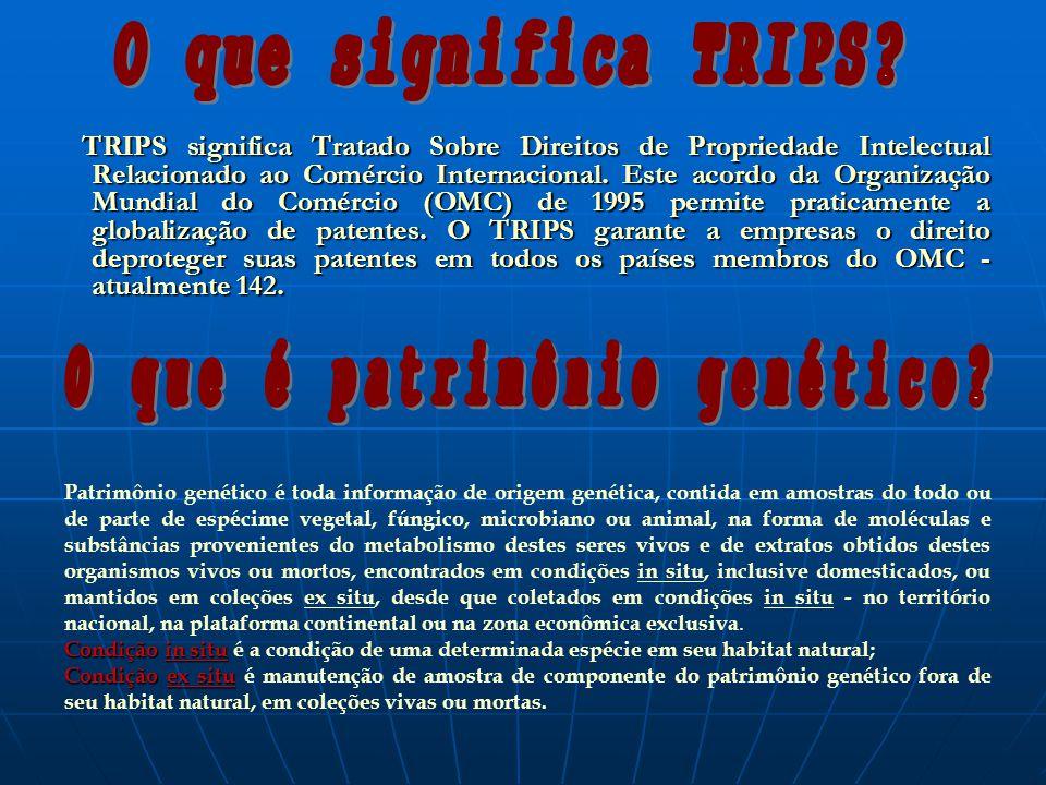 TRIPS significa Tratado Sobre Direitos de Propriedade Intelectual Relacionado ao Comércio Internacional. Este acordo da Organização Mundial do Comérci