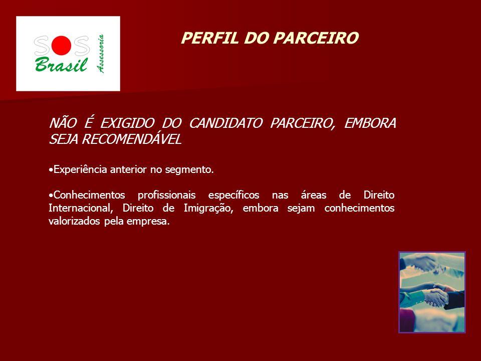 NÃO É EXIGIDO DO CANDIDATO PARCEIRO, EMBORA SEJA RECOMENDÁVEL Experiência anterior no segmento.