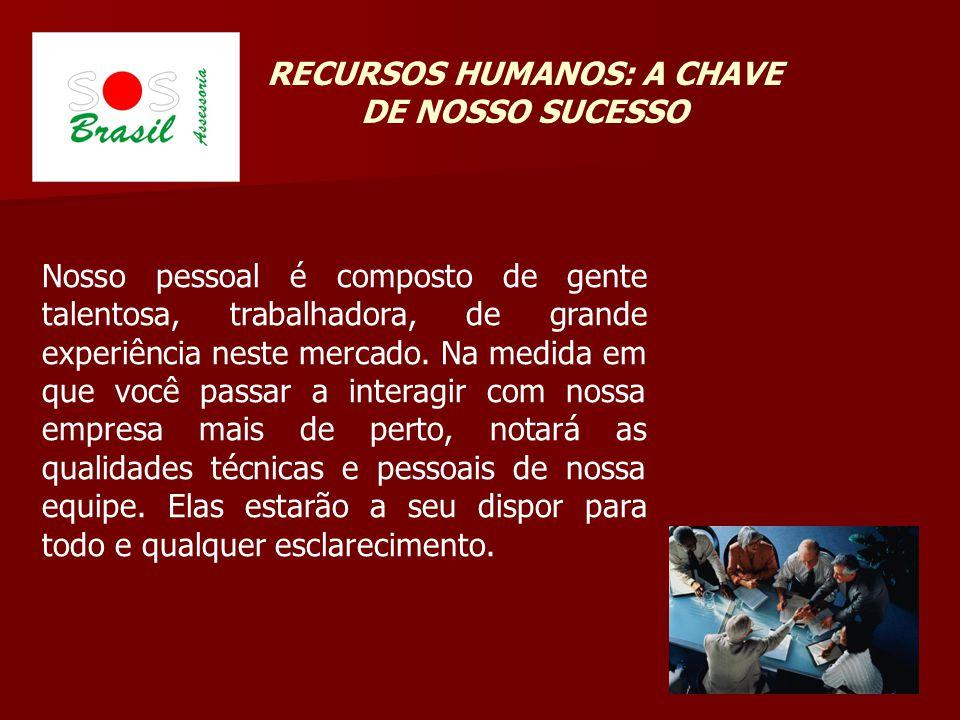 RECURSOS HUMANOS: A CHAVE DE NOSSO SUCESSO Nosso pessoal é composto de gente talentosa, trabalhadora, de grande experiência neste mercado.