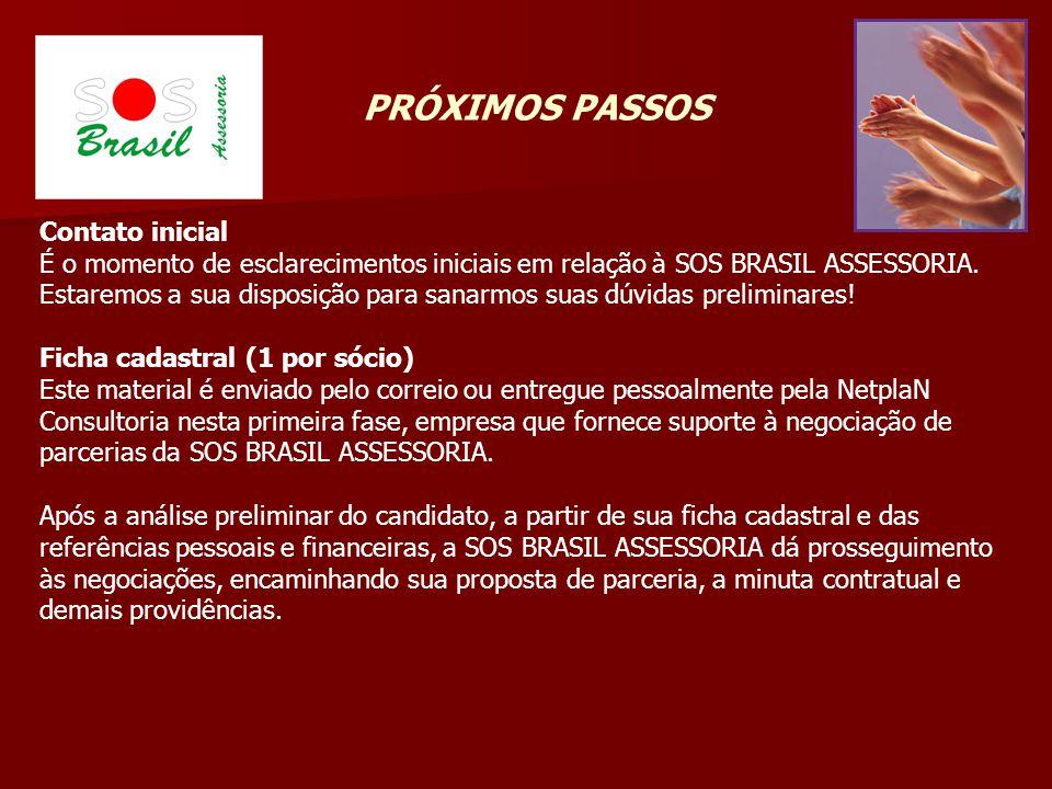 PRÓXIMOS PASSOS Contato inicial É o momento de esclarecimentos iniciais em relação à SOS BRASIL ASSESSORIA. Estaremos a sua disposição para sanarmos s