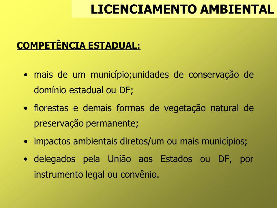 COMPETÊNCIA ESTADUAL: mais de um município;unidades de conservação de domínio estadual ou DF; florestas e demais formas de vegetação natural de preservação permanente; impactos ambientais diretos/um ou mais municípios; delegados pela União aos Estados ou DF, por instrumento legal ou convênio.