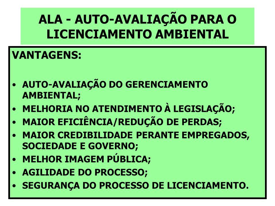 ALA - AUTO-AVALIAÇÃO PARA O LICENCIAMENTO AMBIENTAL VANTAGENS: AUTO-AVALIAÇÃO DO GERENCIAMENTO AMBIENTAL; MELHORIA NO ATENDIMENTO À LEGISLAÇÃO; MAIOR