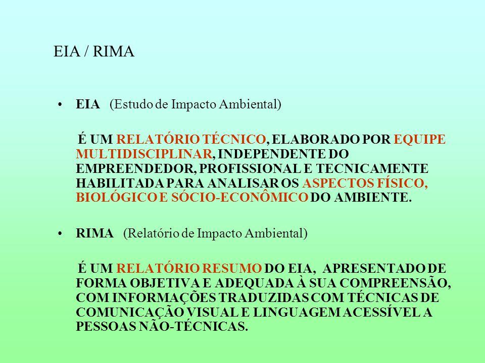 EIA / RIMA EIA (Estudo de Impacto Ambiental) É UM RELATÓRIO TÉCNICO, ELABORADO POR EQUIPE MULTIDISCIPLINAR, INDEPENDENTE DO EMPREENDEDOR, PROFISSIONAL E TECNICAMENTE HABILITADA PARA ANALISAR OS ASPECTOS FÍSICO, BIOLÓGICO E SÓCIO-ECONÔMICO DO AMBIENTE.