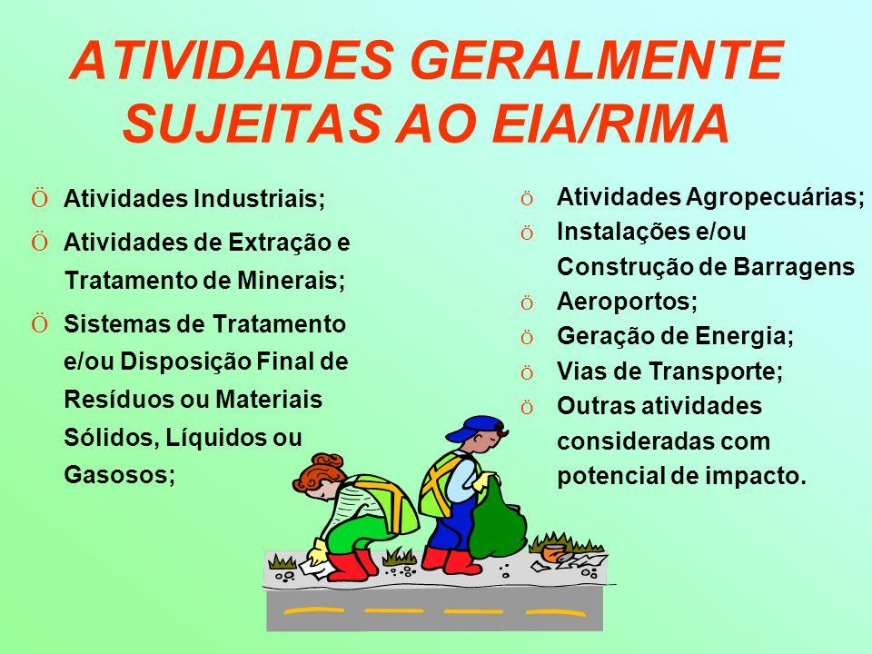 ATIVIDADES GERALMENTE SUJEITAS AO EIA/RIMA Ö Atividades Industriais; Ö Atividades de Extração e Tratamento de Minerais; Ö Sistemas de Tratamento e/ou