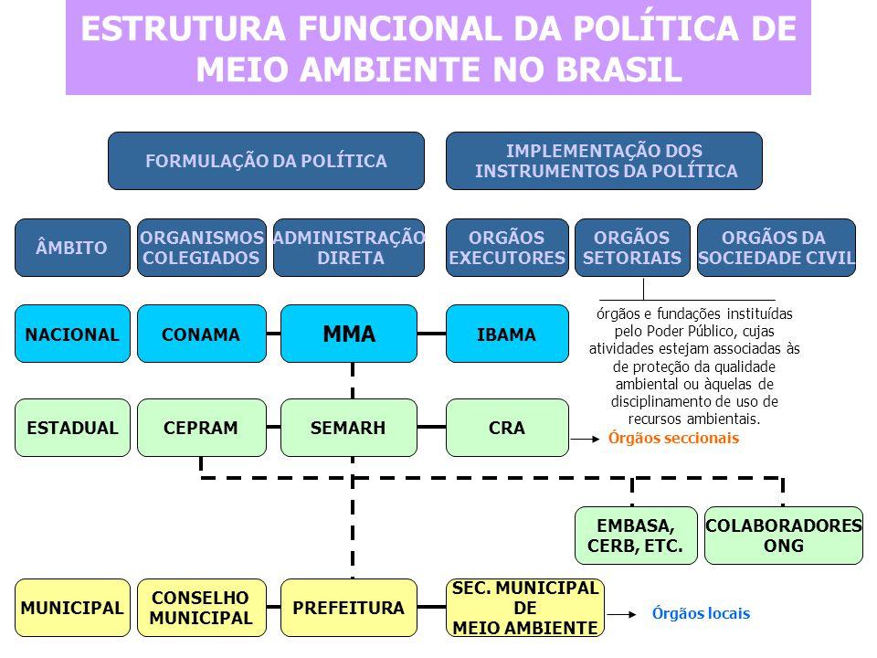 ESTRUTURA FUNCIONAL DA POLÍTICA DE MEIO AMBIENTE NO BRASIL FORMULAÇÃO DA POLÍTICA IMPLEMENTAÇÃO DOS INSTRUMENTOS DA POLÍTICA ÂMBITO ORGANISMOS COLEGIA