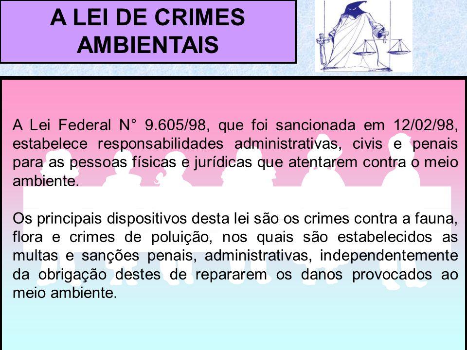 A Lei Federal N° 9.605/98, que foi sancionada em 12/02/98, estabelece responsabilidades administrativas, civis e penais para as pessoas físicas e jurídicas que atentarem contra o meio ambiente.