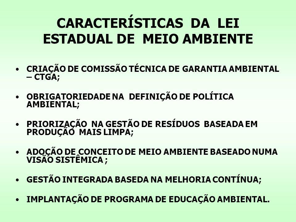 CARACTERÍSTICAS DA LEI ESTADUAL DE MEIO AMBIENTE CRIAÇÃO DE COMISSÃO TÉCNICA DE GARANTIA AMBIENTAL – CTGA; OBRIGATORIEDADE NA DEFINIÇÃO DE POLÍTICA AMBIENTAL; PRIORIZAÇÃO NA GESTÃO DE RESÍDUOS BASEADA EM PRODUÇÃO MAIS LIMPA; ADOÇÃO DE CONCEITO DE MEIO AMBIENTE BASEADO NUMA VISÃO SISTÊMICA ; GESTÃO INTEGRADA BASEDA NA MELHORIA CONTÍNUA; IMPLANTAÇÃO DE PROGRAMA DE EDUCAÇÃO AMBIENTAL.