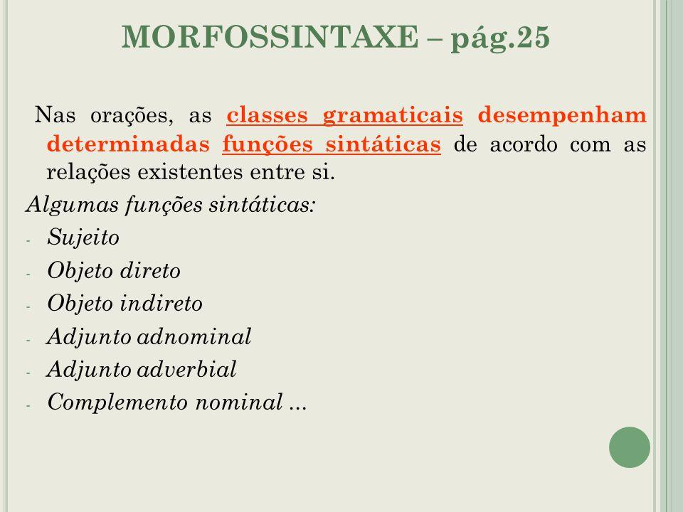 MORFOSSINTAXE – pág.25 Nas orações, as classes gramaticais desempenham determinadas funções sintáticas de acordo com as relações existentes entre si.