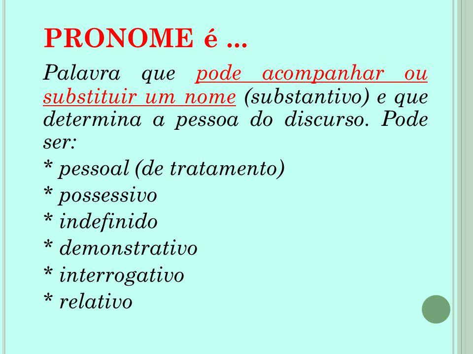 PRONOME é... Palavra que pode acompanhar ou substituir um nome (substantivo) e que determina a pessoa do discurso. Pode ser: * pessoal (de tratamento)
