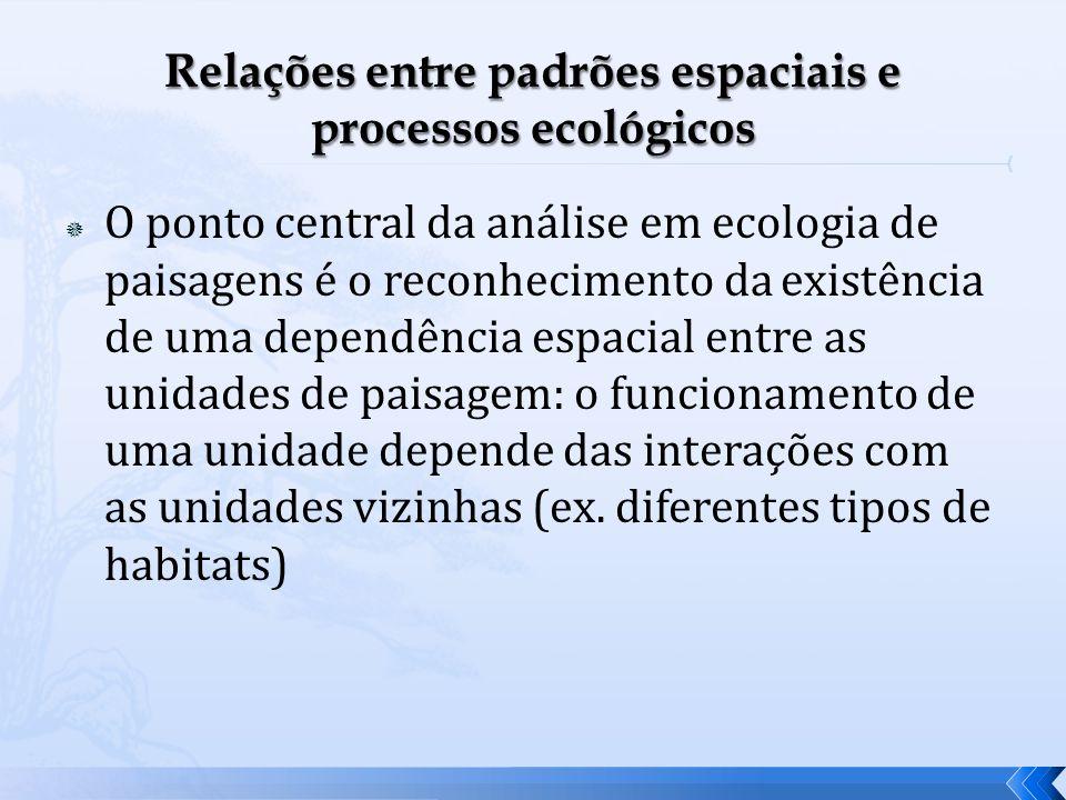 O ponto central da análise em ecologia de paisagens é o reconhecimento da existência de uma dependência espacial entre as unidades de paisagem: o func