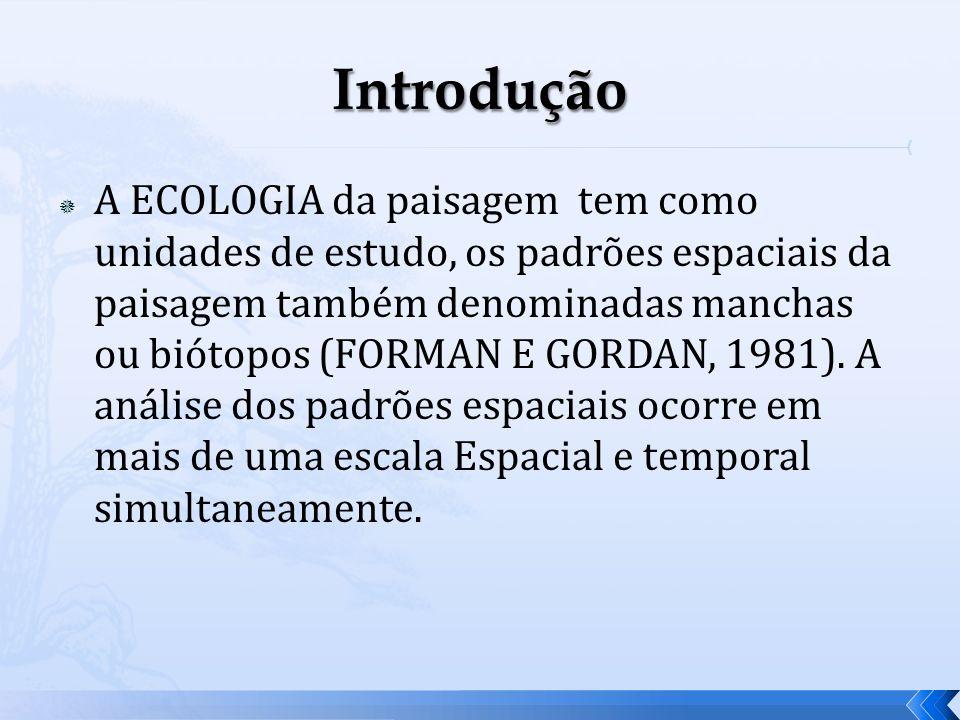 A ECOLOGIA da paisagem tem como unidades de estudo, os padrões espaciais da paisagem também denominadas manchas ou biótopos (FORMAN E GORDAN, 1981). A